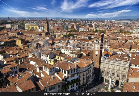 Verona Panoramic View - Italy stock photo, Panorama of the city of Verona from Lamberti Tower - Italy  by catalby
