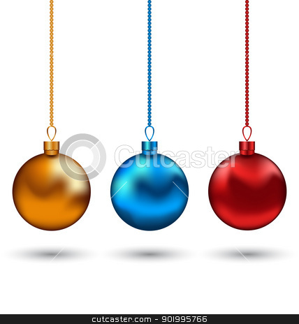 Christmas colorful balls isolated on white background stock vector clipart, Illustration Christmas colorful balls isolated on white background - vector by -=Mad Dog=-