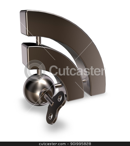 metal rss symbol stock photo, metal rss symbol with wind-up key - 3d illustration by J?