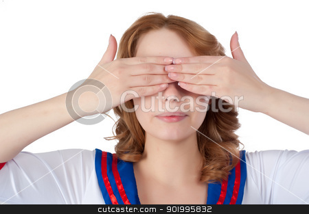 Pretty woman with see no evil stock photo, Young beauiful woman covering her eyes. Isolated on white by Aikon