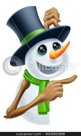 Snowman showing Christmas message stock vector clipart, A snowman in a top hat and green scarf pointing at a Christmas message by Christos Georghiou