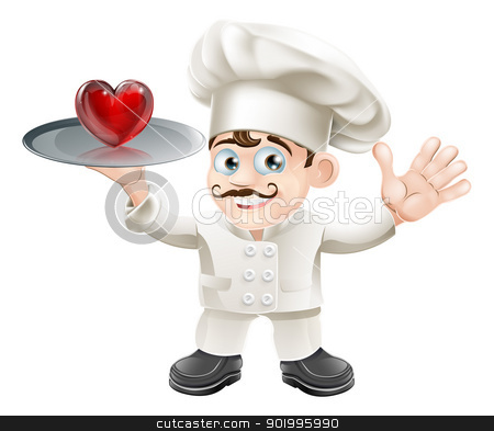 Food lover heart chef stock vector clipart, A chef with a herat on a plate, could be about being a food lover by Christos Georghiou