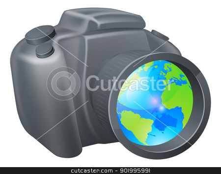 Camera globe concept stock vector clipart, Camera globe concept, camera with globe in lens, could be for travel photography, a photography holiday or trip, or internet photography concept. by Christos Georghiou
