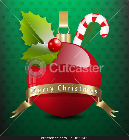 Christmas background with various decors stock vector clipart, Vector illustration of Christmas background with various decors by Vladimir Repka