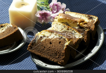 chocolate brownies stock photo, Homemade a plate of chocolate brownies incloseup by momo_leif