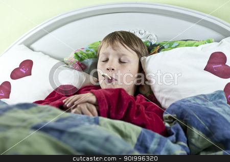 Boy in bed with thermometer stock photo, Young caucasian boy in bed with a thermometer in his mouth to check if he has fever by Johan Lenell