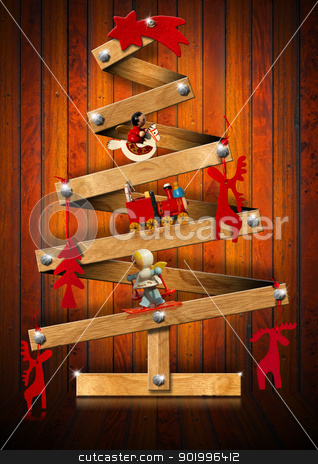 Wooden and Stylized Christmas Tree stock photo, Stylized Christmas tree decorated with Christmas objects on wooden background   by catalby