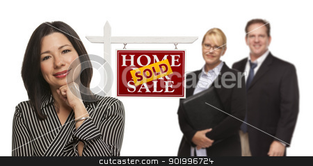 Mixed Race People with Sold Real Estate Sign Isolated stock photo, Mixed Race People with Sold Home For Sale Real Estate Sign Isolated on a White Background. by Andy Dean