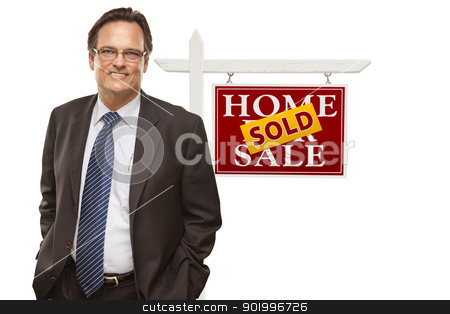 Businessman and Sold Home For Sale Real Estate Sign Isolated stock photo, Businessman in Front of Sold Home For Sale Real Estate Sign Isolated on a White Background. by Andy Dean