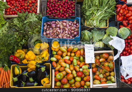 marketplace stock photo, Fresh fruits and vegetable at a market by vinciber
