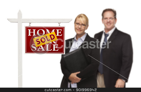 Businesswoman and Businessman Behind Real Estate Sign Isolated stock photo, Businesswoman and Businessman Behind Sold Home For Sale Real Estate Sign Isolated on a White Background. by Andy Dean