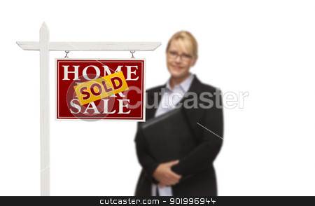 Businesswoman Behind Sold Home For Sale Real Estate Sign Isolate stock photo, Businesswoman Behind Sold Home For Sale Real Estate Sign Isolated on a White Background. by Andy Dean