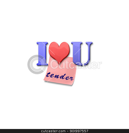 Inscription I love You stock photo, Inscription I love You magnetic letters and a note by Anatolii Vasilev