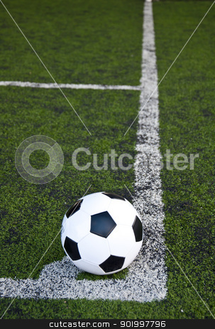 Ball on corner line stock photo, ball on corner line of artificial grass football field by Charoen Dokkularb