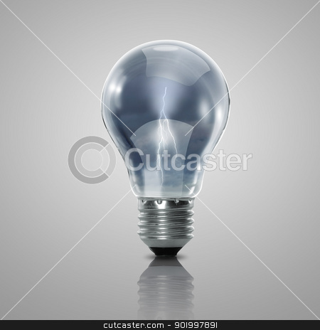 Electric bulb illustration stock photo, Illustration with a hand putting a word into a bulb by Sergey Nivens