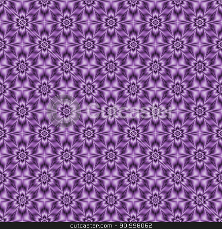 Blue-violet Tiled Flower stock photo, Digital abstract image with a seamless tiled floral pattern in blue-violet by Colin Forrest