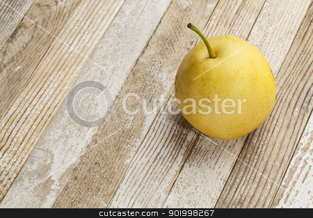asian pear stock photo, asian pear fruit  from home garden on grunge wood background by Marek Uliasz