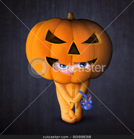 Halloween pumpkin mask stock photo, Child with pumpkin mask for Halloween night by Giordano Aita