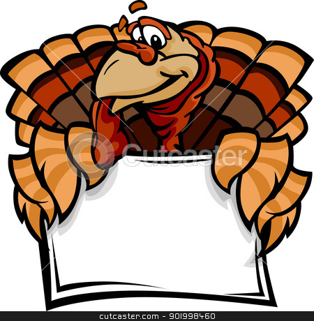 Happy Thanksgiving Holiday Turkey Holding Sign Cartoon Vector Il stock vector clipart, Cartoon Vector Image of a Thanksgiving Holiday Turkey Holding a Sign  by chromaco