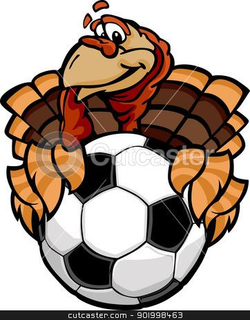 Soccer Thanksgiving Holiday Happy Turkey Cartoon Vector Illustra stock vector clipart, Cartoon Vector Image of a Happy Thanksgiving Holiday Soccer Turkey Holding a Soccer Ball by chromaco
