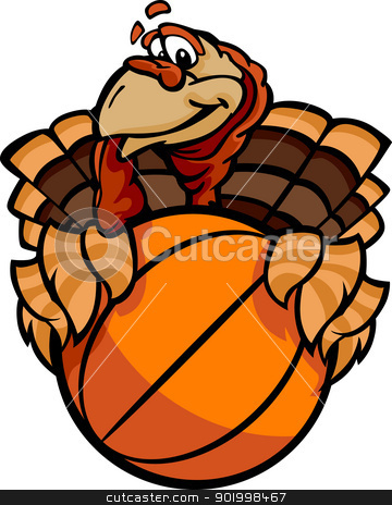 Basketball Happy Thanksgiving Holiday Turkey Cartoon Vector Illu stock vector clipart, Cartoon Vector Image of a Thanksgiving Holiday Tennis Turkey Holding a Basketball Ball  by chromaco