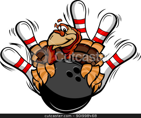 Bowling Thanksgiving Holiday Turkey Cartoon Vector Illustration stock vector clipart, Cartoon Vector Image of a Thanksgiving Holiday Bowling Turkey Holding a Bowling Ball Surrounded by Bowling Pins by chromaco