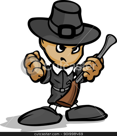 Tough Guy Pilgrim with Gun and Hat Vector Graphic stock vector clipart, Pilgrim Mascot with Determined Face and Gun Cartoon Vector Image  by chromaco