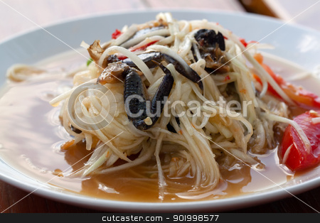 thai papaya salad hot and spicy stock photo, thai papaya salad hot and spicy mixed from variety of vegetable by Ekkapon