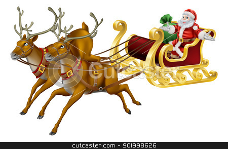 Christmas sled stock vector clipart, Illustration of Santa in his Christmas sled being pulled by reindeer  by Christos Georghiou