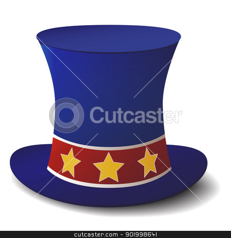 top hat stock vector clipart, new vintage style male hat with stars on red stripe isolated on white background by metrue