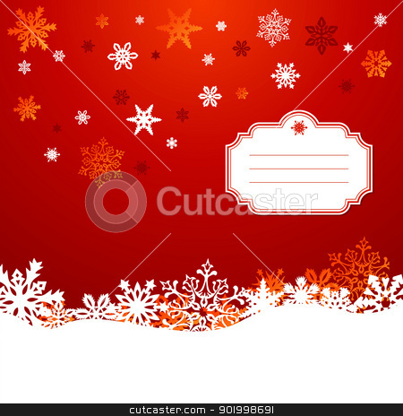 Christmas snowflakes greeting card background stock vector clipart, Red Christmas snowflakes greeting card background. Vector illustration layered for easy manipulation and custom coloring. by Cienpies Design