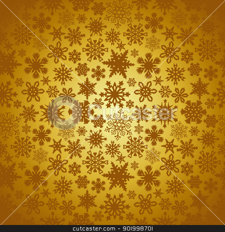 Golden Christmas snowflakes background stock vector clipart, Golden Christmas snowflakes background. Vector illustration layered for easy manipulation and custom coloring. by Cienpies Design