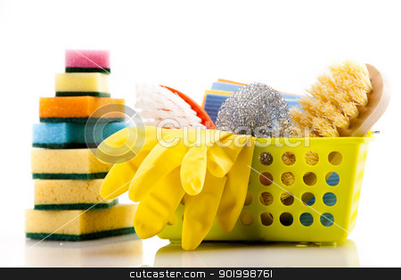 Cleaning items set stock photo, Cleaning items isolated on white background by fikmik