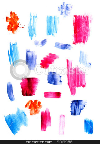 Handmade paint lines stock photo, Handmade paint lines composition on paper.  by Grafvision