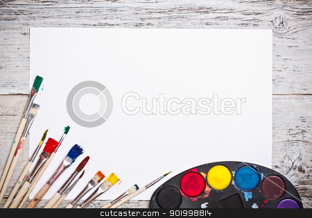 Used watercolor paints set  stock photo, Used watercolor paints set with brushes and paper sheet  by Grafvision