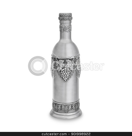 Sabbath bottle of wine stock photo, Sabbath bottle of wine. A regular bottle of wine is inserted inside this metal bottle and served this way onto a Sabbath table during Sabbath meals. by lermannika