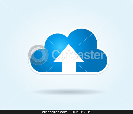 Cloud Upload stock vector clipart, This image represents a cloud upload illustration./Cloud Upload by Bagiuiani Kostas