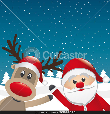 santa and reindeer wave winter landscape stock vector clipart, santa and reindeer wave hands winter landscape by d3images