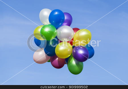 Multi colored balloons in the sky stock photo, Multi colored balloons in the sky by ARNIS LAZDINS