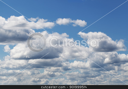 Clouds on blue sky at midday stock photo, Clouds on blue sky at midday by ARNIS LAZDINS