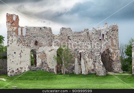 Medieval Castle Ruins stock photo, Medieval Castle Ruins by ARNIS LAZDINS