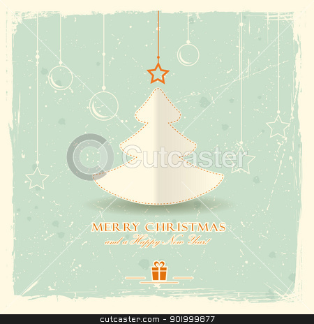 Christmas tree with hanging ornaments stock vector clipart, Simple paper Christmas tree with star and hanging ornaments on pale green distressed background.  by Ina Wendrock