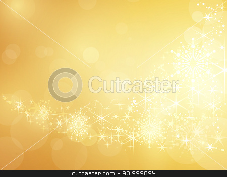 Golden sparkling star and snowflake border stock vector clipart, Festive golden background with shiny stars, snow flakes and bokeh lights. by Ina Wendrock