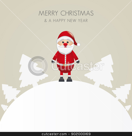 santa claus christmas tree white background stock vector clipart, santa claus christmas tree white background world by d3images