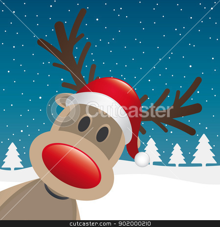 reindeer red nose winter landscape stock vector clipart, reindeer red nose and hat winter landscape by d3images