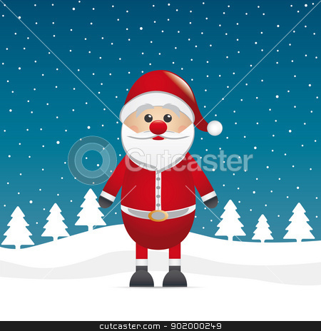 santa claus stand on winter landscape stock vector clipart, santa claus stand on winter landscape background by d3images