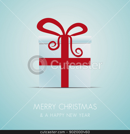 christmas gift box with red ribbon stock vector clipart, white christmas gift box with red ribbon by d3images