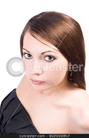 Portrait of the young beauty woman. Isolated on white background stock photo, Portrait of the young beauty woman. Isolated on white background by Sergii Sukhorukov