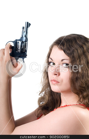 Young woman with a pistol. Isolated on white stock photo, Young woman with a pistol. Isolated on white by Sergii Sukhorukov
