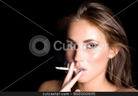 portrait of the beautiful young woman with a cigarette 3 stock photo, portrait of the beautiful young woman with a cigarette 3 by Sergii Sukhorukov
